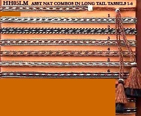 Horsehair 5-Strand Long Mule Hatband w/ Double Layer Tassels